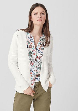 Pletený kabátek sažurovým vzorem
