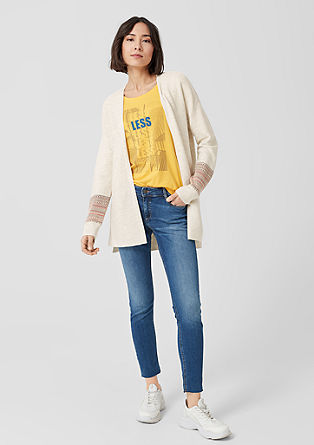 Open Front-Cardigan mit Webmuster