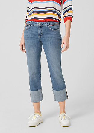 Cropped Straight: Jeans mit Stitching