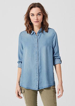 Denim overhemdblouse van lyocell