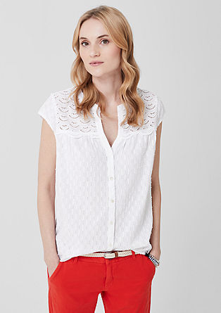 Jacquard blouse with broderie anglaise from s.Oliver