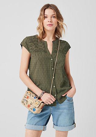 Bluza iz žakarda z luknjičasto čipko