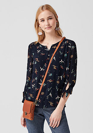 Blouse with three-quarter length sleeves and floral pattern from s.Oliver