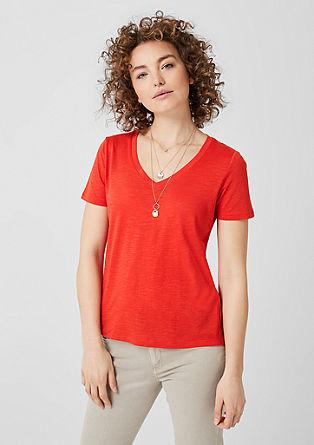 Shirt van slubgaren, met V-hals