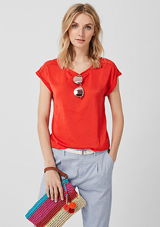 T-shirt met voorpand van satijn