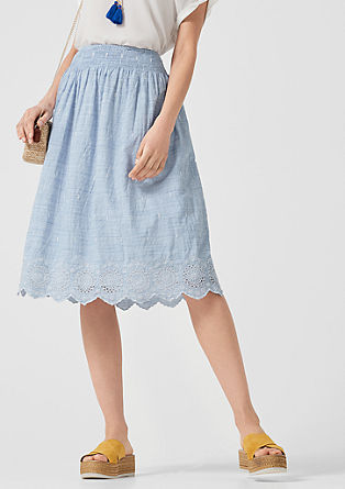 Chambray skirt with broderie anglaise from s.Oliver
