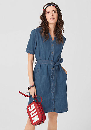 Denim dress with linen from s.Oliver