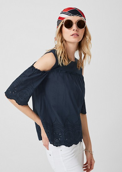 Cold Shoulder-Bluse aus Batist