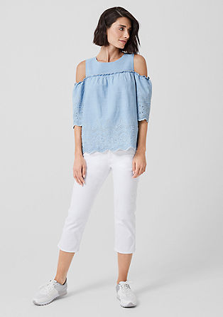 Denim cold-shoulder blouse
