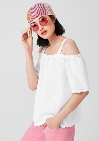 Cold Shoulder-Bluse aus Leinen