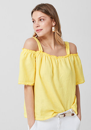 Cold-shoulder blouse van linnen