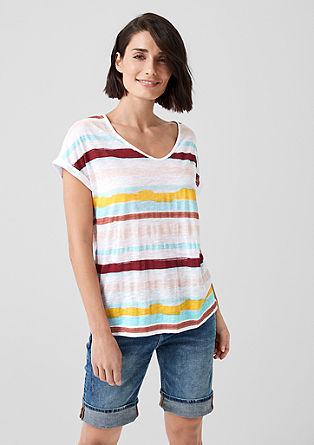 V-Shirt aus Lyocell und Leinen