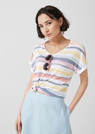 Tričko se špičatým výstřihem z lyocellu a lnu