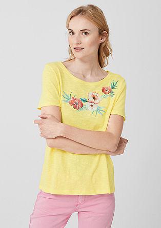 Shirt van slubgaren met florale print