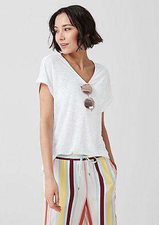 Shirt met V-hals, van lyocell en linnen