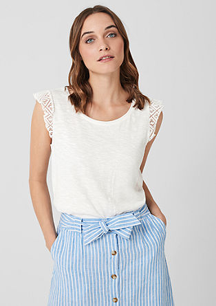 Slub top with crochet lace from s.Oliver