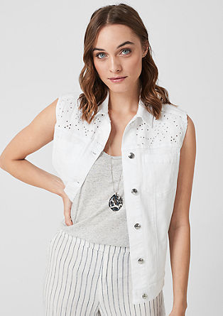 Denim waistcoat with openwork pattern from s.Oliver