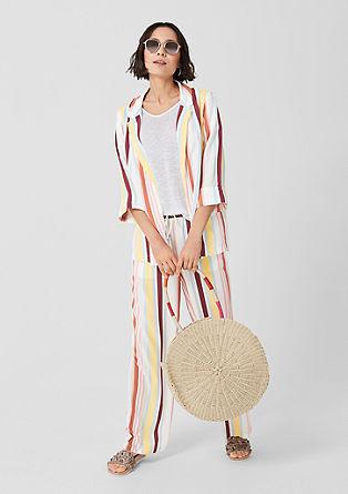 Viscose broek met recht model, hoge taille en wijde pijpen