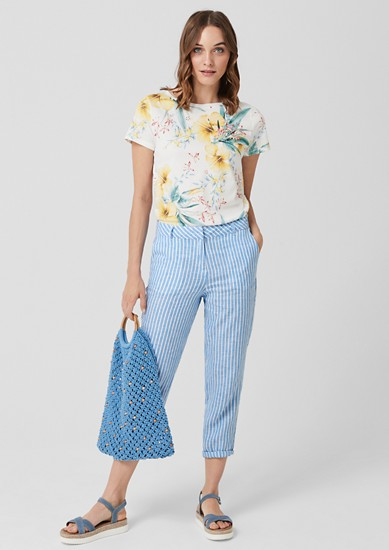 Shape Ankle: Striped linen trousers from s.Oliver