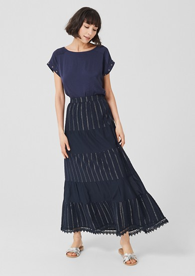 Tiered maxi skirt with glittery stripes from s.Oliver
