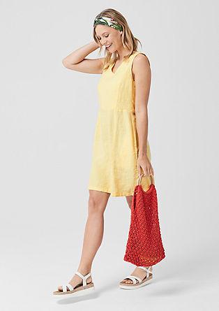 Figure-flattering V-neck linen dress from s.Oliver