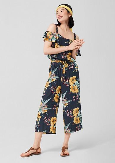 Off Shoulder-Jumpsuit mit Floralprint