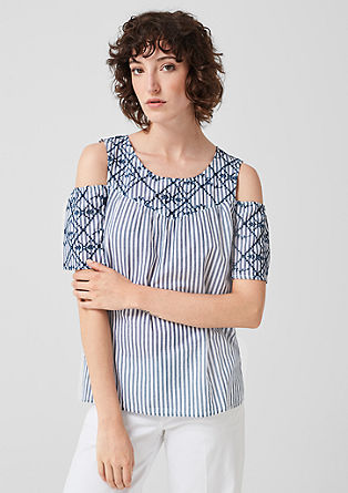 Cold Shoulder-Bluse mit Stitching