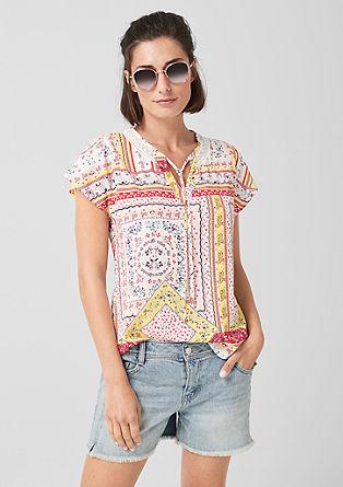 Vzorčasta viskozna bluza s čipko