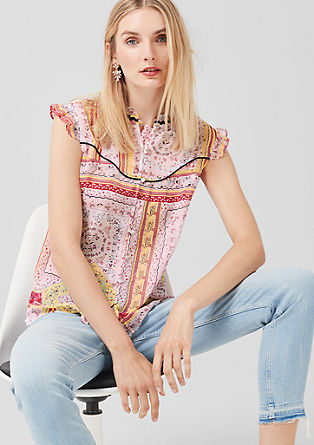 Blouse top made of textured crêpe from s.Oliver