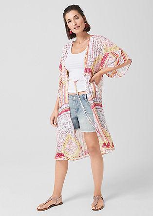 Langer Blusenblazer im Kimono-Style