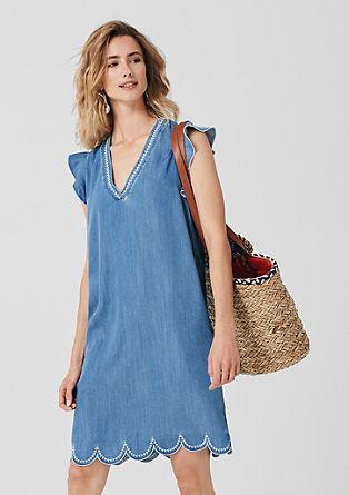 Besticktes Light Denim-Kleid