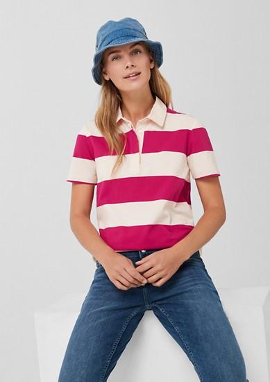 Jersey-Poloshirt mit Blockstreifen