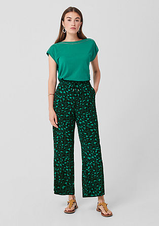 Wide cloth trousers with an all-over print from s.Oliver