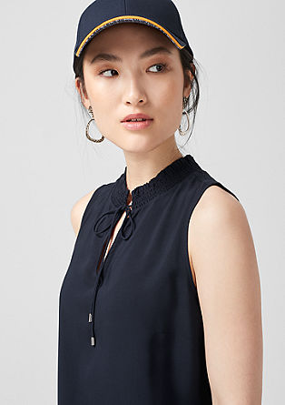 Blouse top with a stand-up collar from s.Oliver