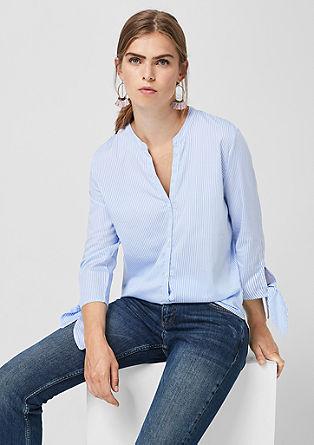Gestreifte Bluse mit Knoten-Details