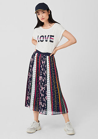Pleated skirt in a mixed pattern design from s.Oliver