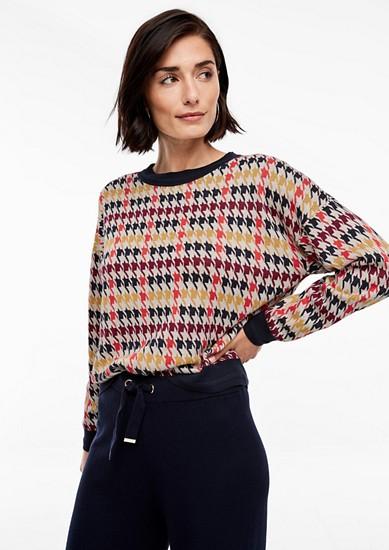 Pullover mit Hahnentritt-Muster
