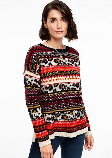 Jacquard-Pullover im Mustermix-Design