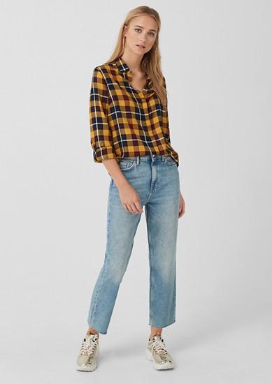 Cropped Straight: Jeans mit Wascheffekt