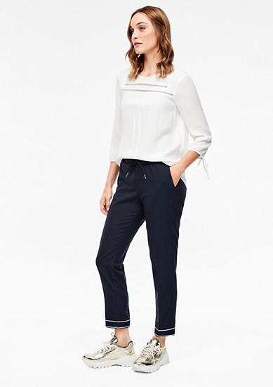 Proužkované 7/8 kalhoty s elastickým pasem