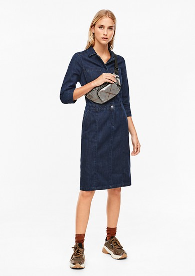 Dark denim dress with 3/4-length sleeves from s.Oliver