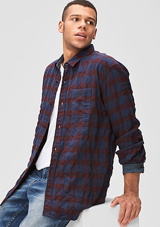 Regular: check shirt with stitching from s.Oliver