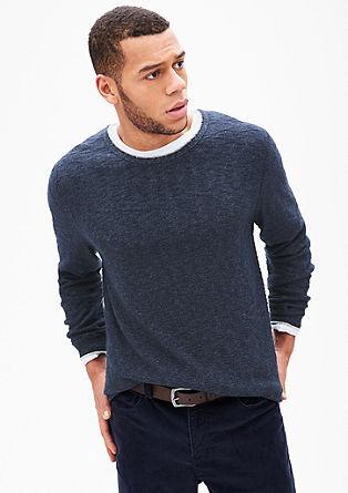 pulover z zarobljenim robom kontrastne barve