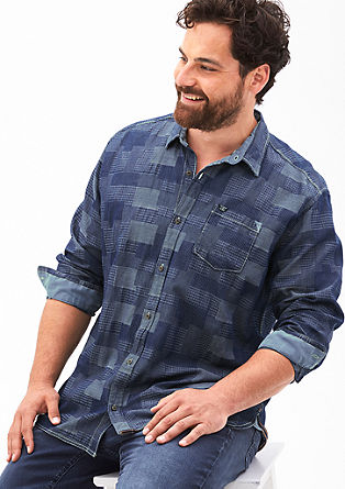 Regular: shirt with a woven pattern from s.Oliver