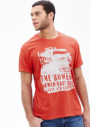 T-shirt with a plain-coloured print from s.Oliver