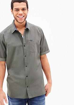 Regular: Baumwollhemd mit Kontrasten