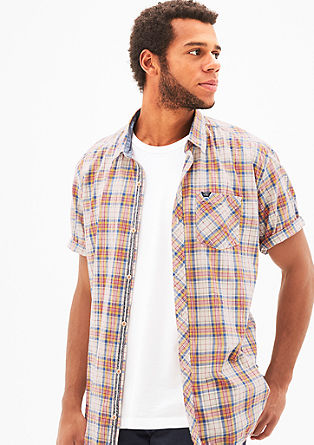 Regular: check stretch shirt from s.Oliver
