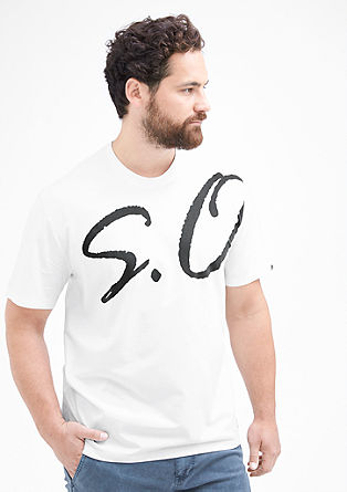 Jersey T-shirt with a label print from s.Oliver