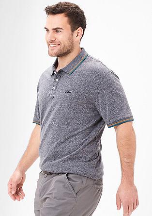 Meliertes Poloshirt mit Kontrasten