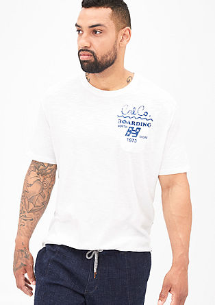 Slub yarn T-shirt with printed lettering from s.Oliver